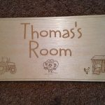 Name plaque for door laser cut and engraved in 3mm birch laser ply