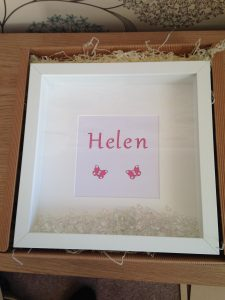 White box frame with laser cut name encrusted with Swarovski crystals and scatter crystals