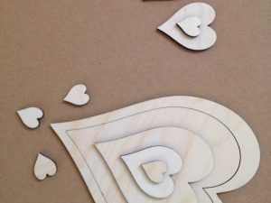 Assorted heart shapes laser cut from 3mm birch plywood