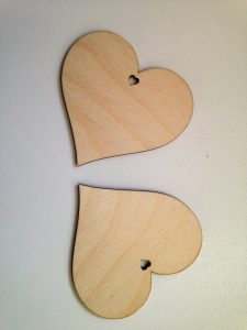 Hearts made laser cut from 3mm birch plywood