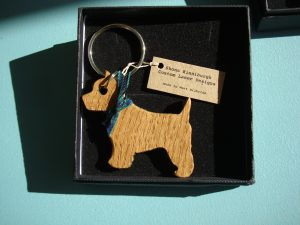Wooden Westie Key Ring - solid oak with a tartan neckerchief