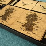Wooden Isle of Arran, Stag, Hairy Coo and Thistle