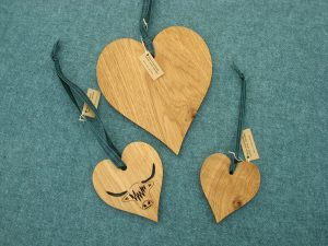 Wooden laser cut decorative solid oak hearts