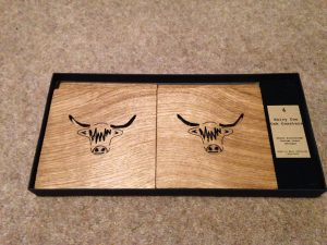 Wooden Hairy Coo Coasters - solid oak