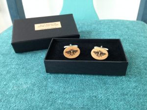 Wooden Honey Bee Cufflinks - Oak