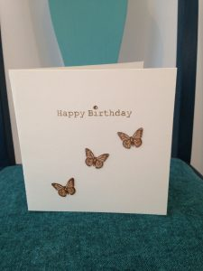 Birthday card with laser cut wooden butterflies