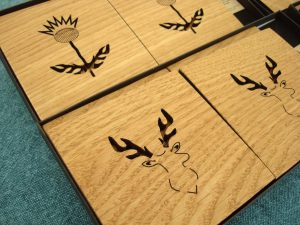 Wooden Thistle and Stag Coasters