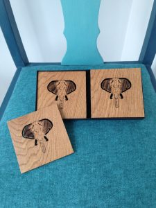 Wooden Elephant coasters in Oak