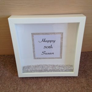 Pesonalised gift in frame with Swarovski crystals