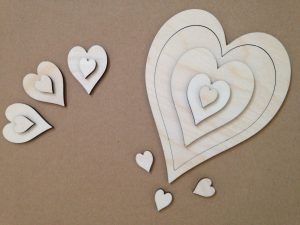 Craft shapes - assorted hearts laser cut from 3mm birch plywood