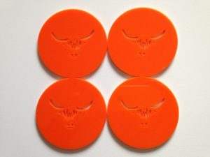 Highland Cow Coasters laser cut from coloured acrylic
