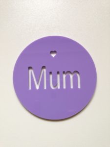 Personalised coaster laser cut from 3mm acrylic