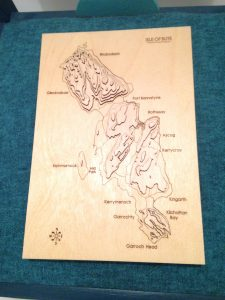 Wooden topographical representation of Isle of Bute