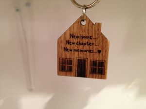 Wooden New Home gift - new home keyring in solid oak