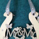 Personalised Wooden Mr & Mr Horseshoe encrusted with Swarovski crystals