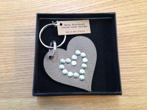 Lasercut Leather key ring - heart shaped
