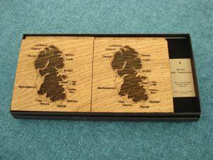 Wooden Isle of Arran Coasters in solid 5.5mm European Oak