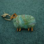 Wooden sheep keyring with colourful hand felted wool