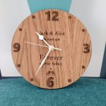 Customised wooden clock for wedding gift