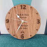 Customised wooden clock for wedding gift