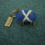 Wooden sheep keyring hand felted with colourful sheep's wool